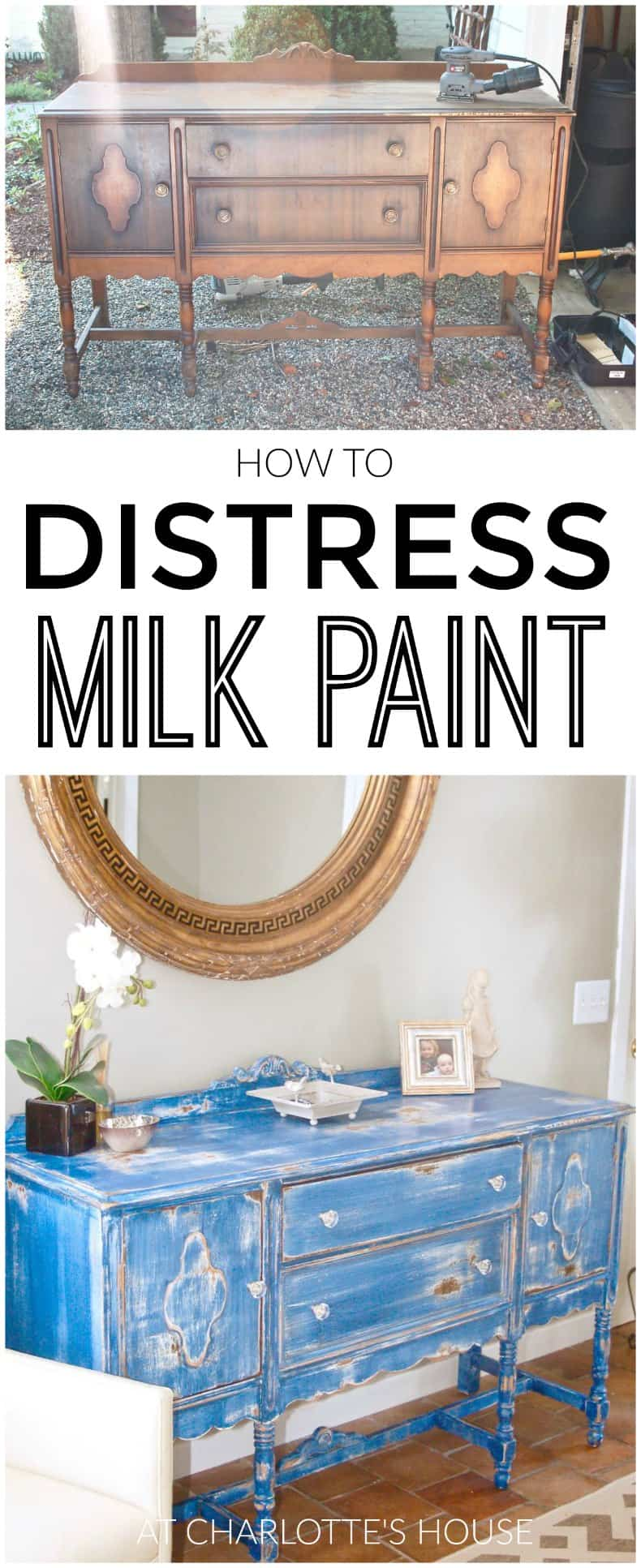 how to use milkpaint to distress an old thrifted sideboard.