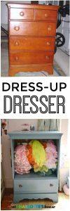Turning a Craigslist dresser into kids dress-up storage.