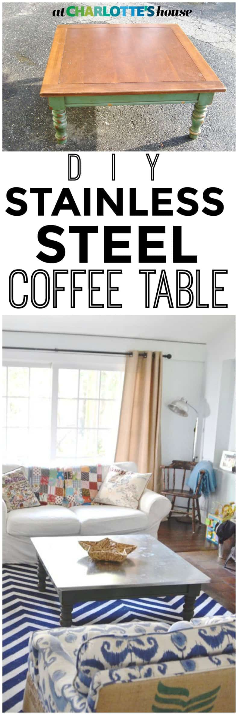 Make any coffee table into this chic and durable stainless steel version for under $50!