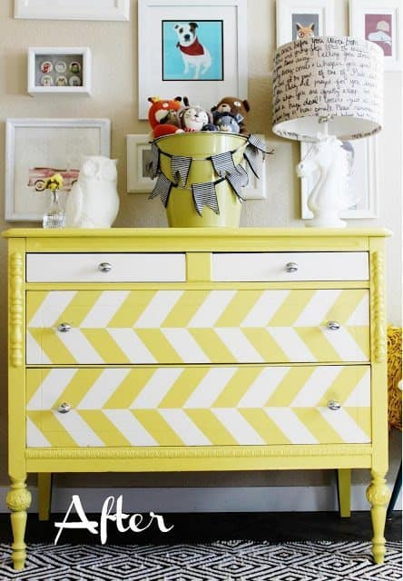 Colorful striped repainted Craigslist dresser