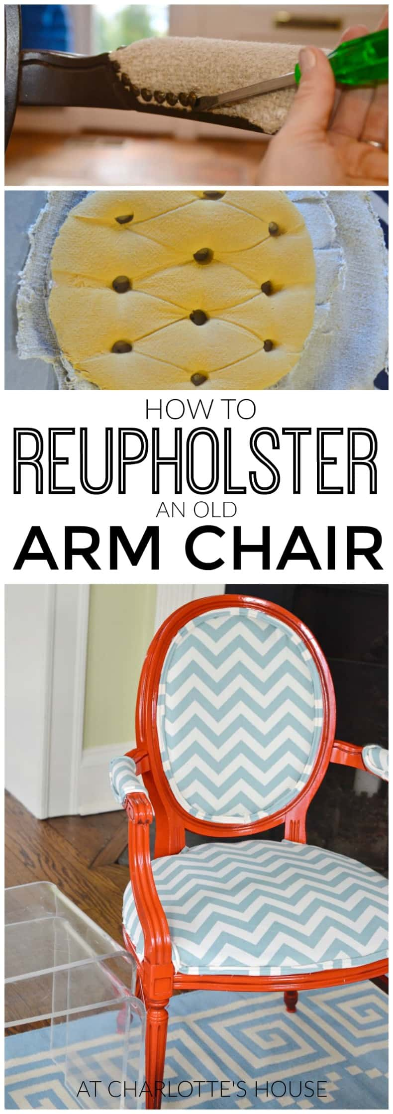 how to reupholster old armchairs with colorful new fabric.