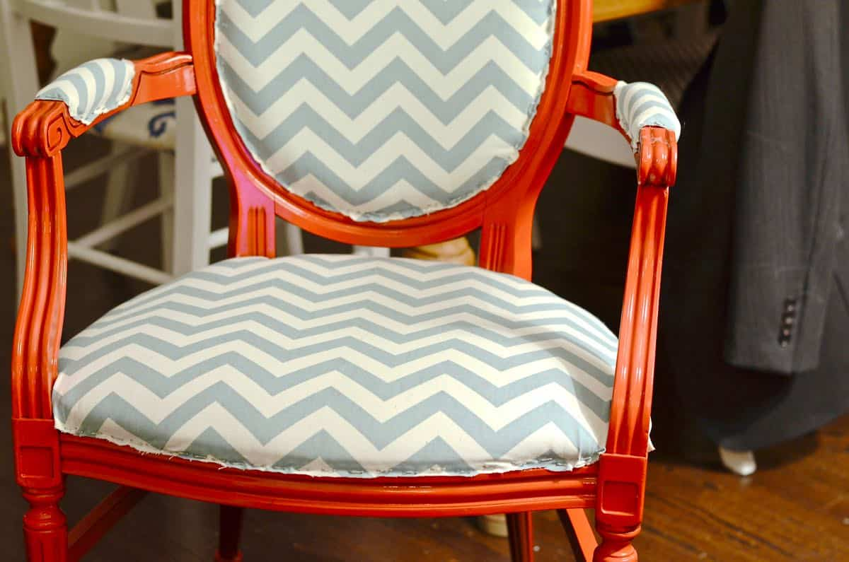 Diy Upholstered Armchairs In Red And Chevron