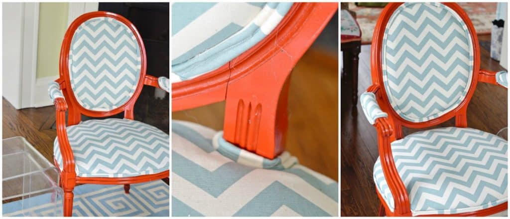 Redo In Red & Chevron: DIY Upholstered Arm Chairs