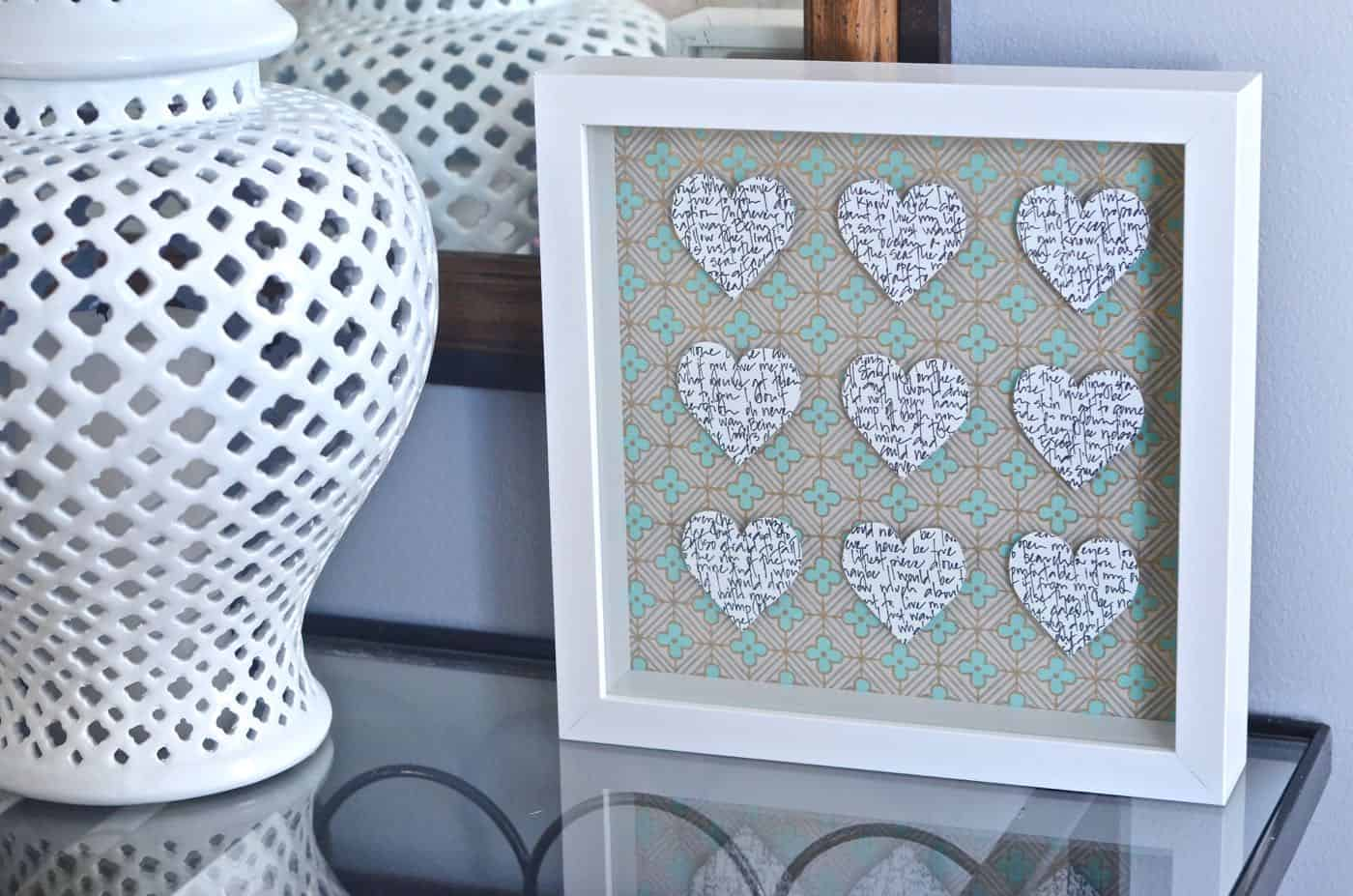 Valentine's Day Shadow box with floating quote hearts.