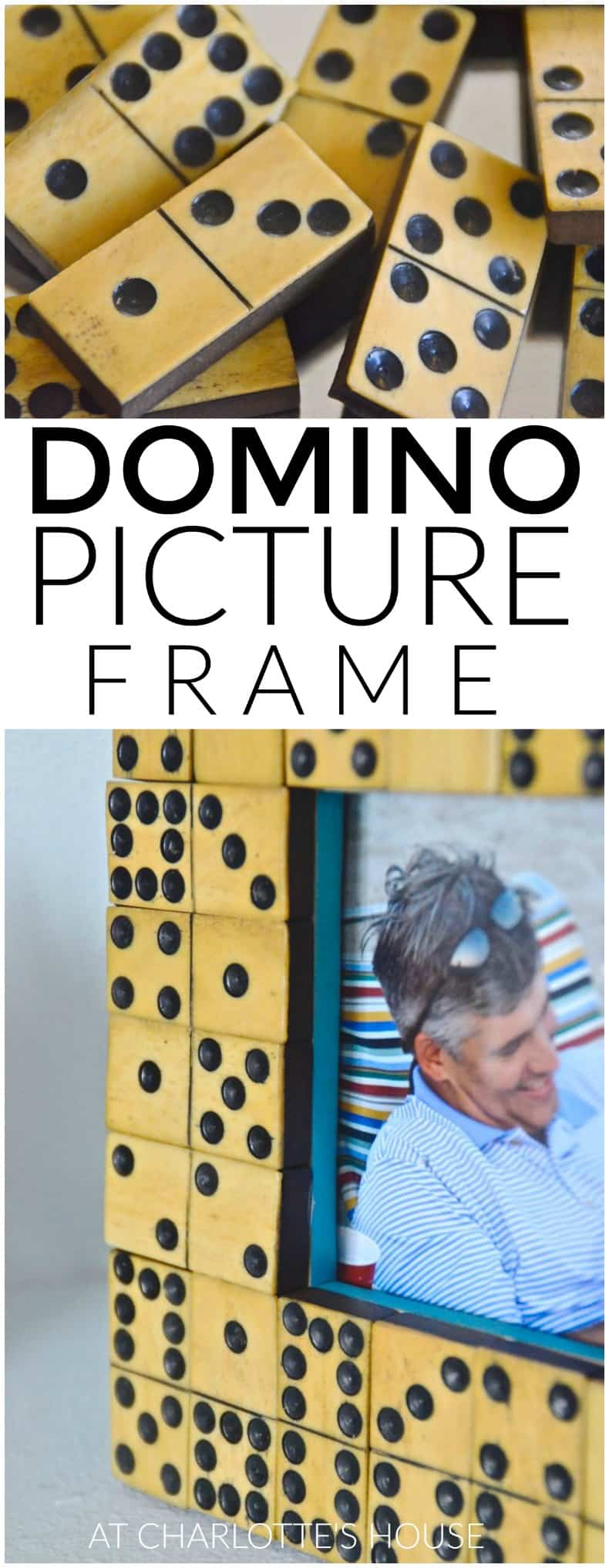 thrifted domino picture frame