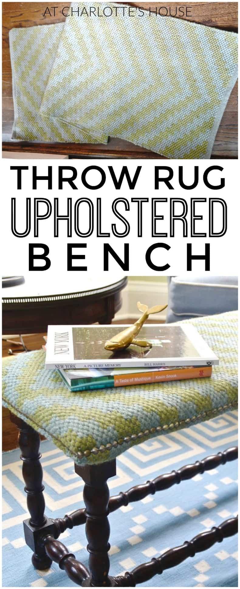 Use an old throw rug to turn a basic bench into an upholstered beauty.