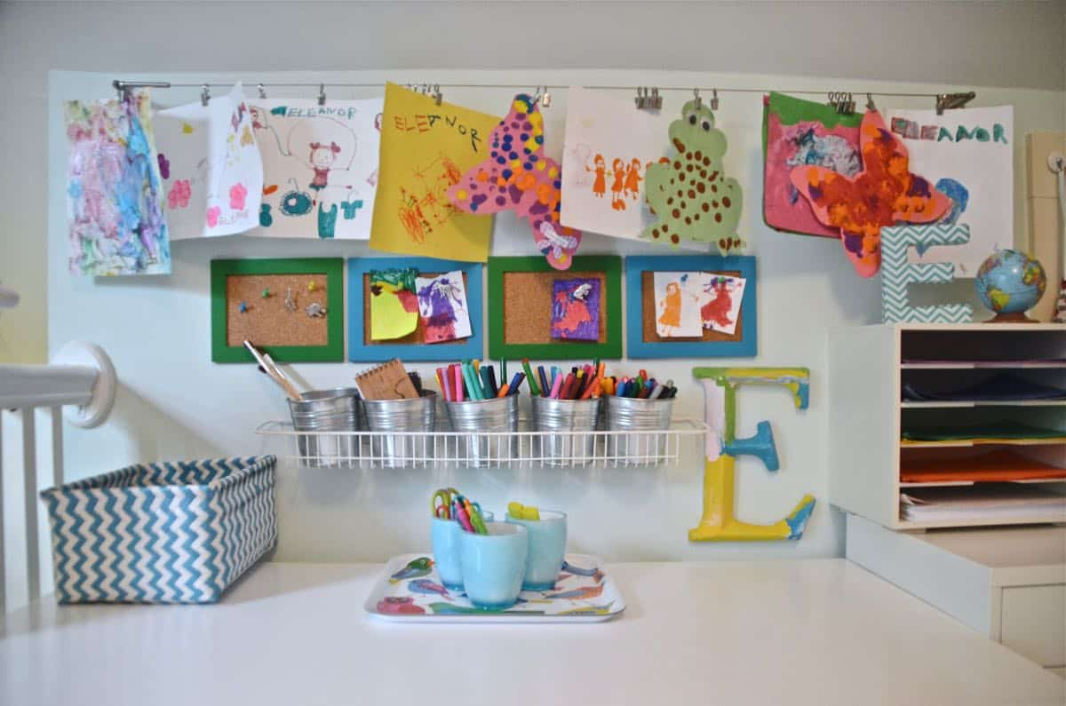 Budget kids art center against a small wall in our playroom.