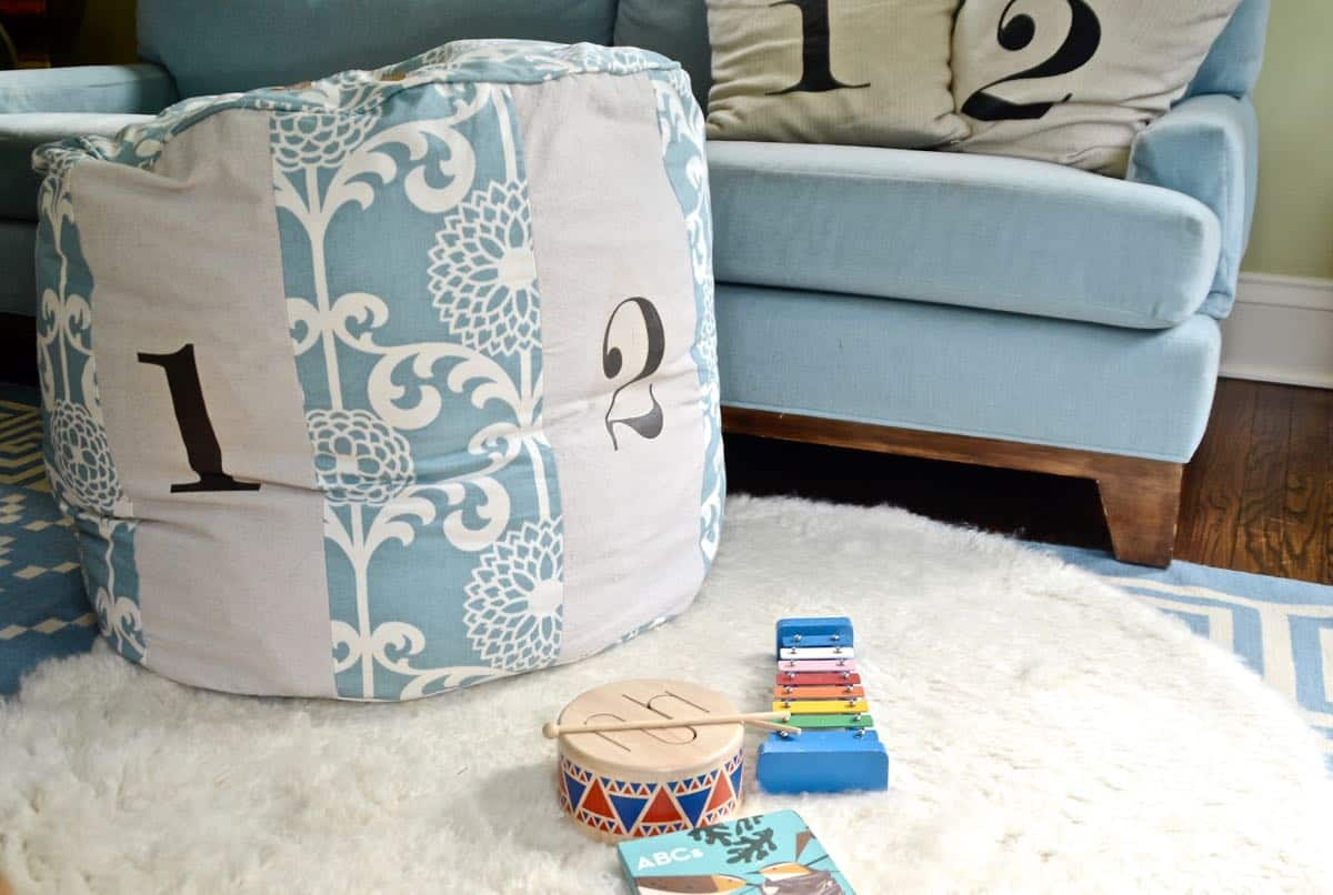 Sew your own Land of nod inspired number pouf.