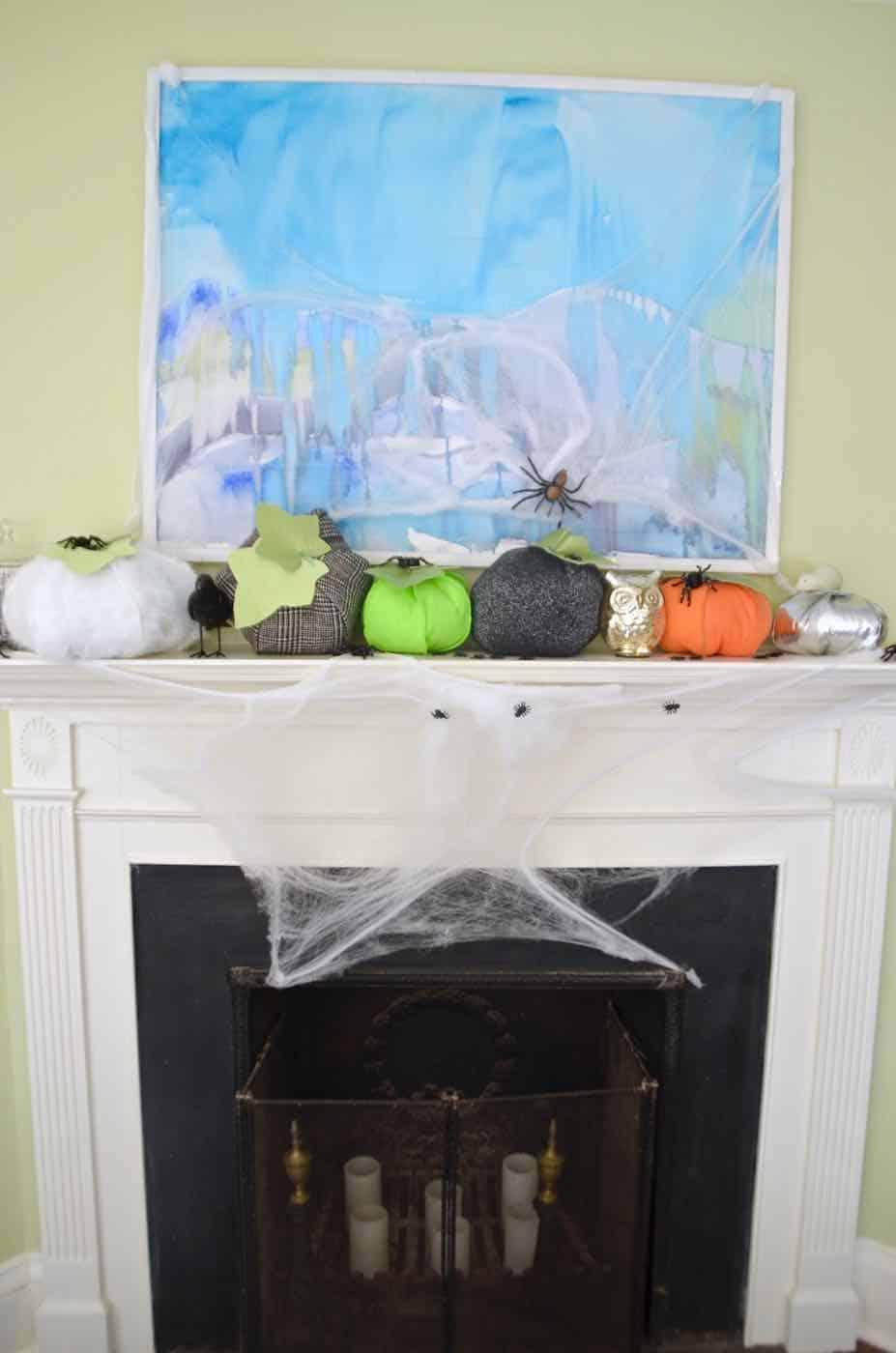 Stuffed pumpkins made from scrap fabric all ready for Halloween decor.