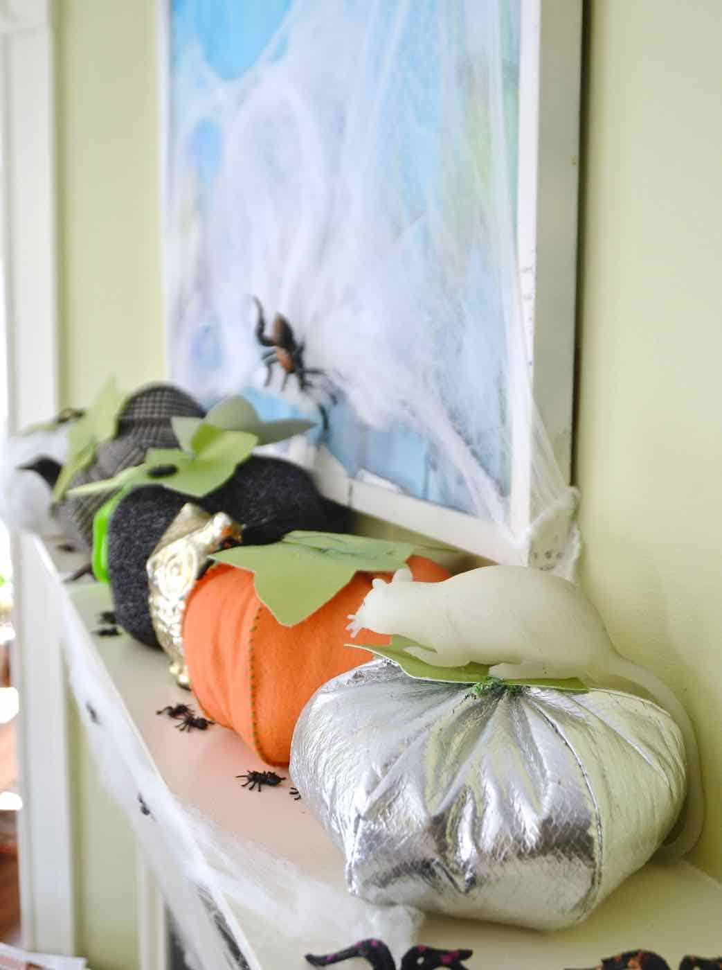 Stuffed pumpkins made from scrap fabric all ready for Halloween decor.