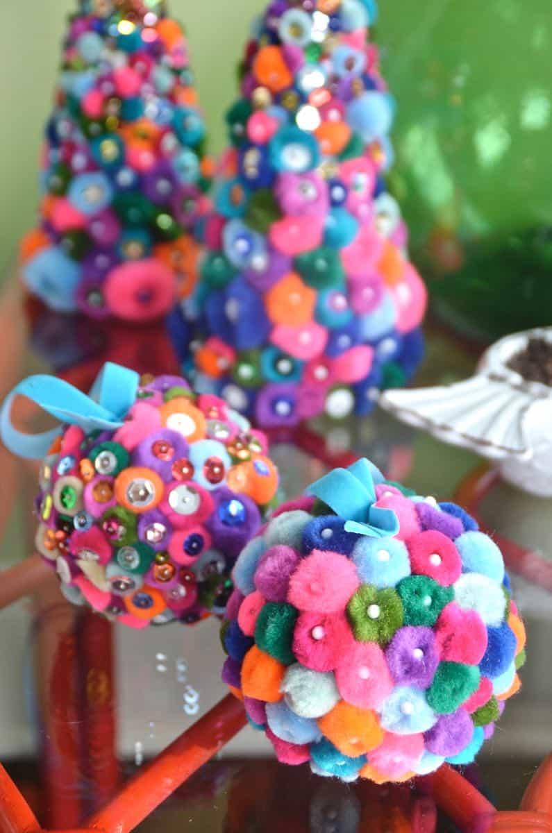 colorful pom pom holiday decor