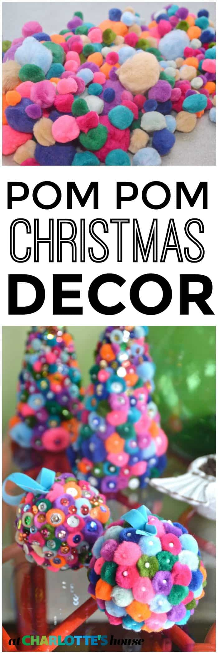colorful pom pom holiday decor