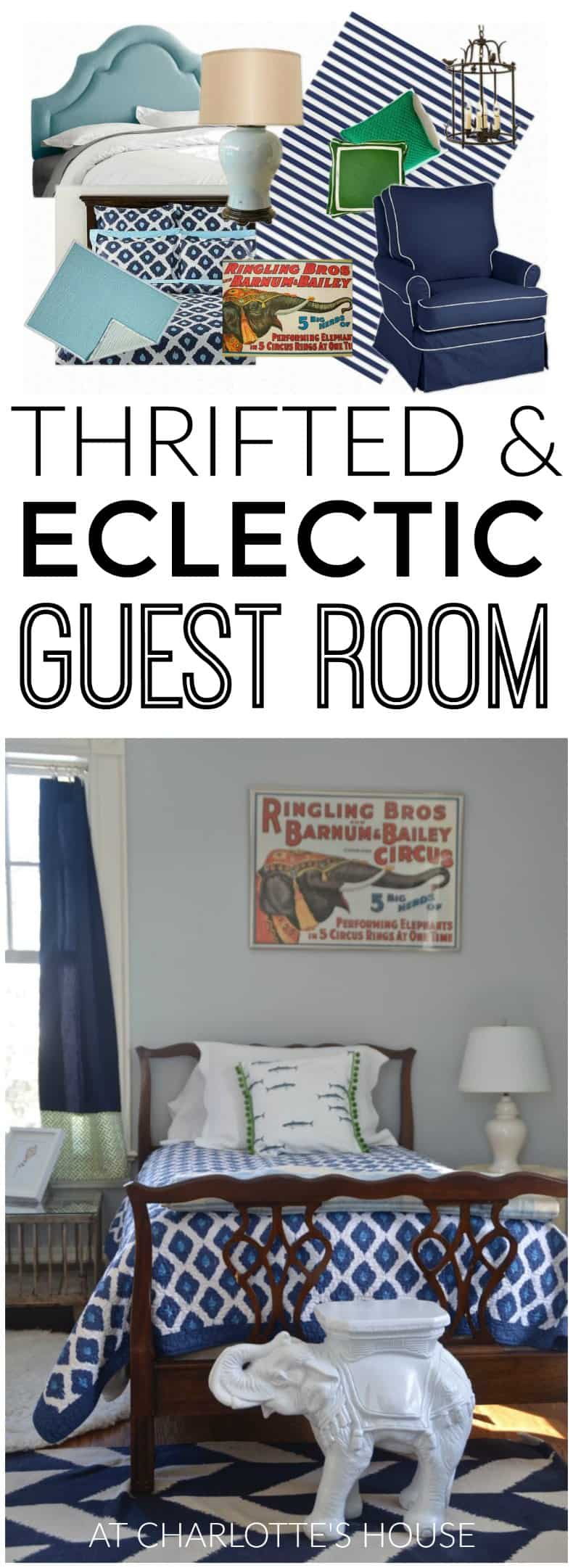 This guest room is filled with flea market and thrift scores!
