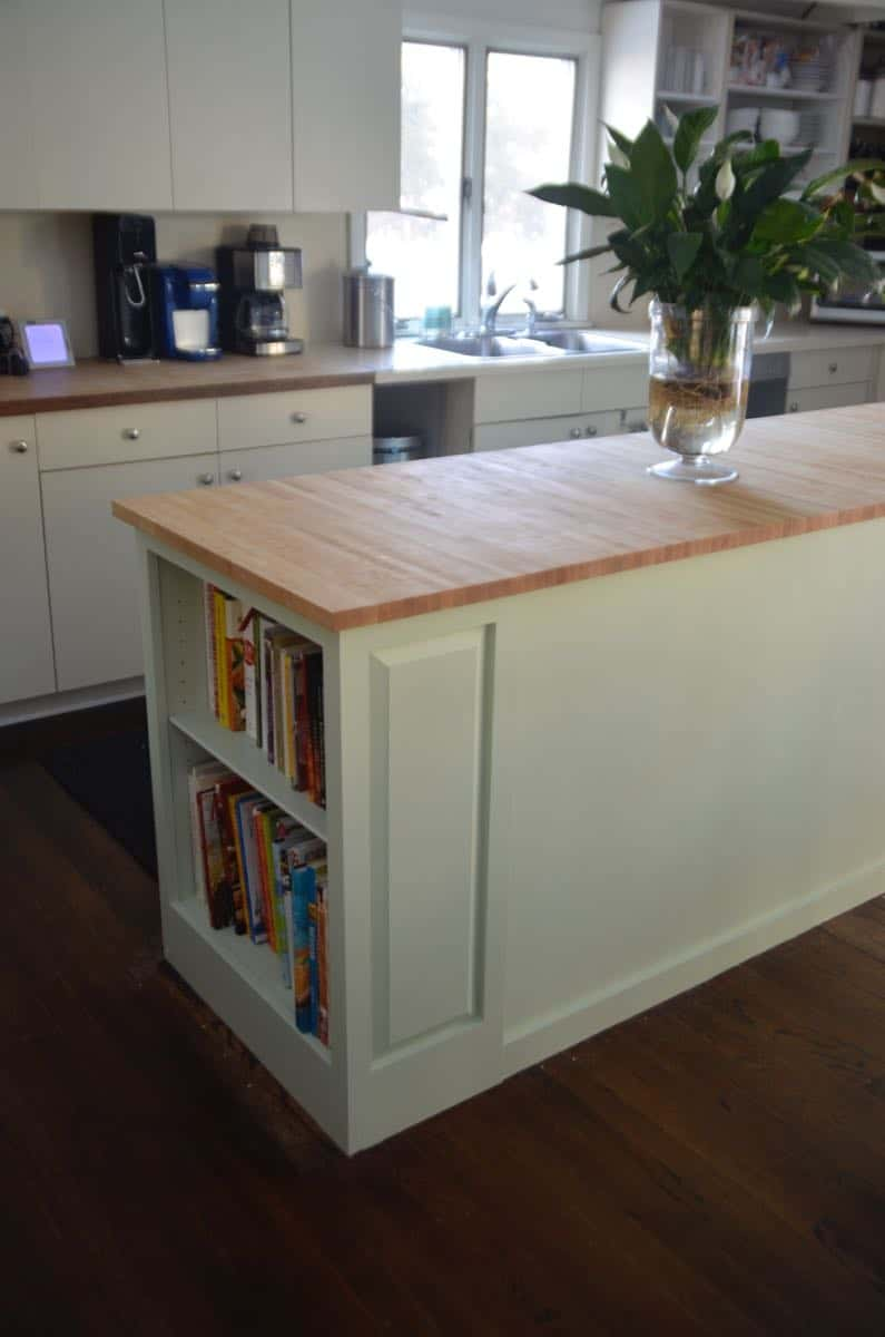Thrifted kitchen cabinet is put to use as a functional new kitchen island.
