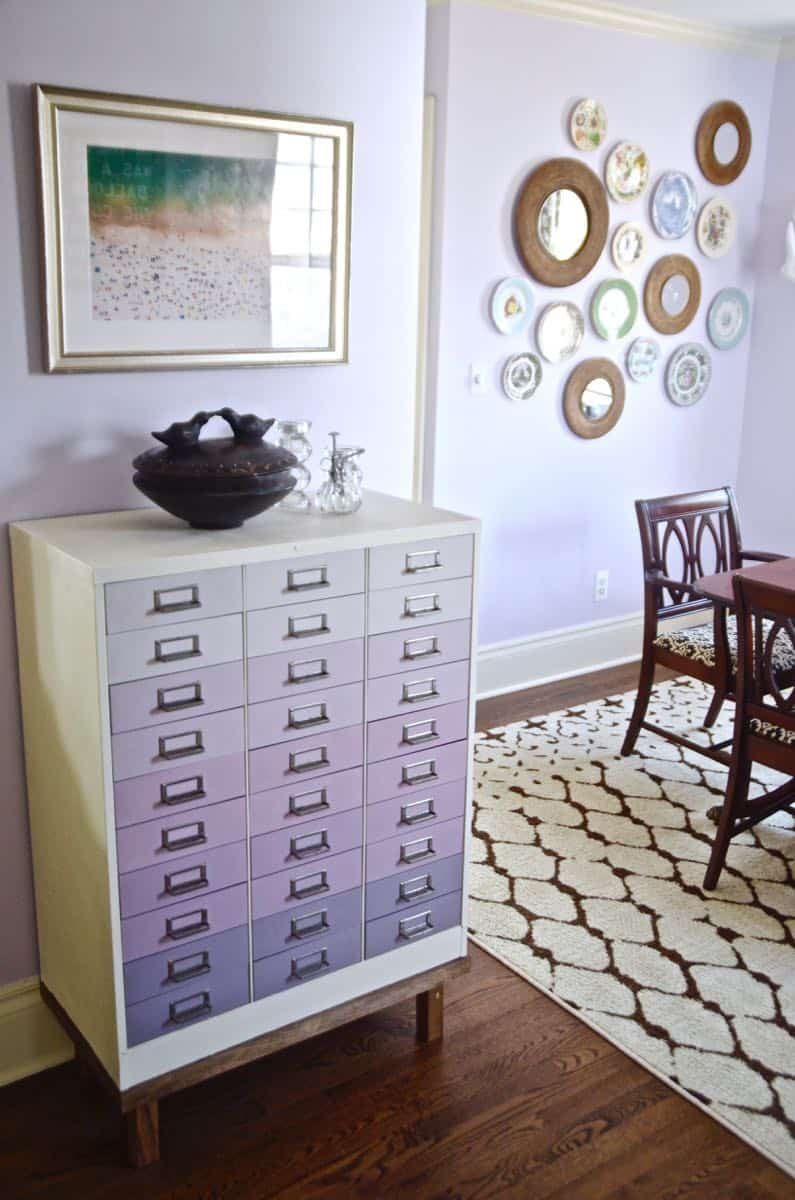 This dining room gets a colorful makeover with a coat of lovely lavender paint.