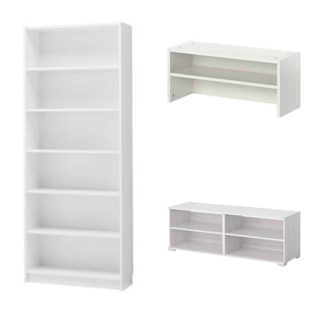 Transforming Ikea billy bookshelves into upscale looking built in shelving.