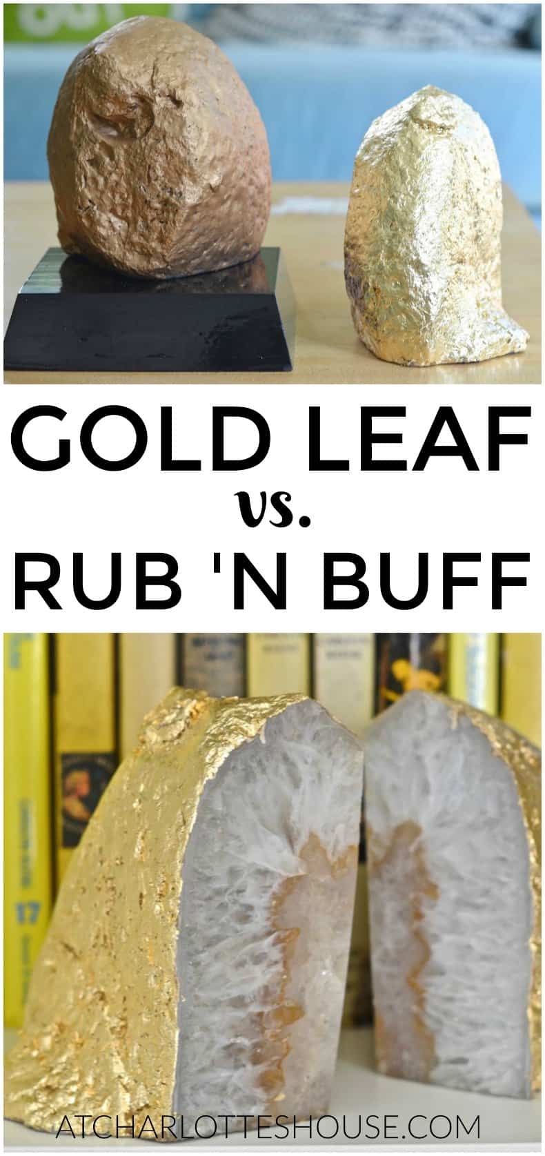 I compared gold leaf to rub n buff for achieving a shiny gold look!