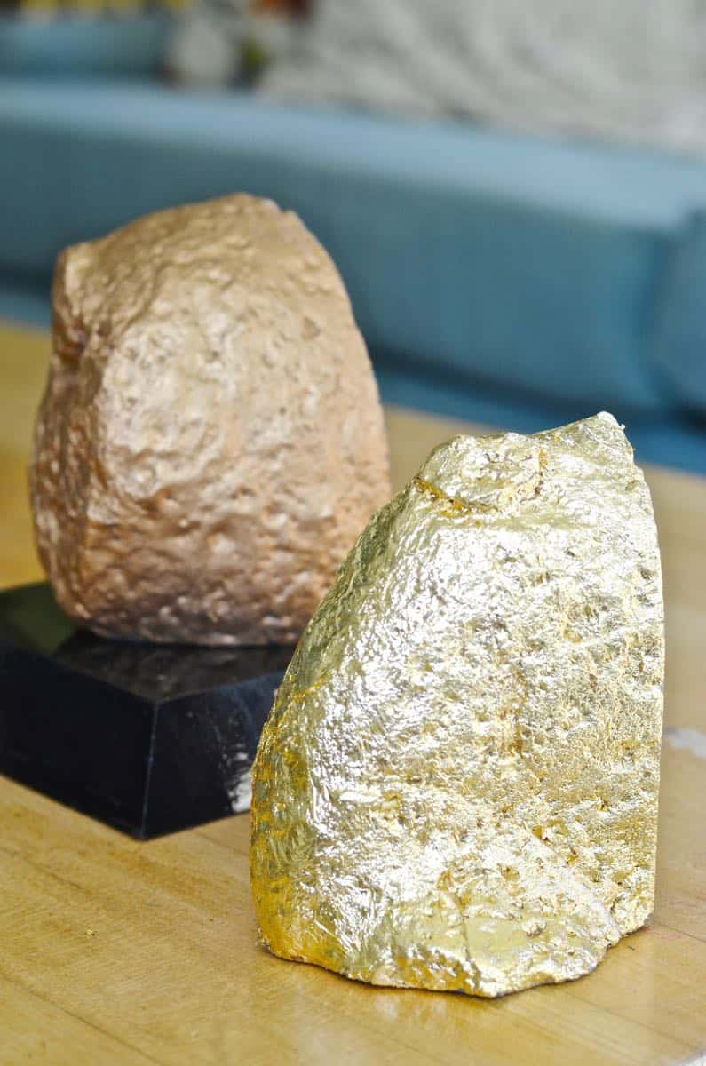compared gold leaf versus rub 'n buff to make these agate bookends shiny and gold.