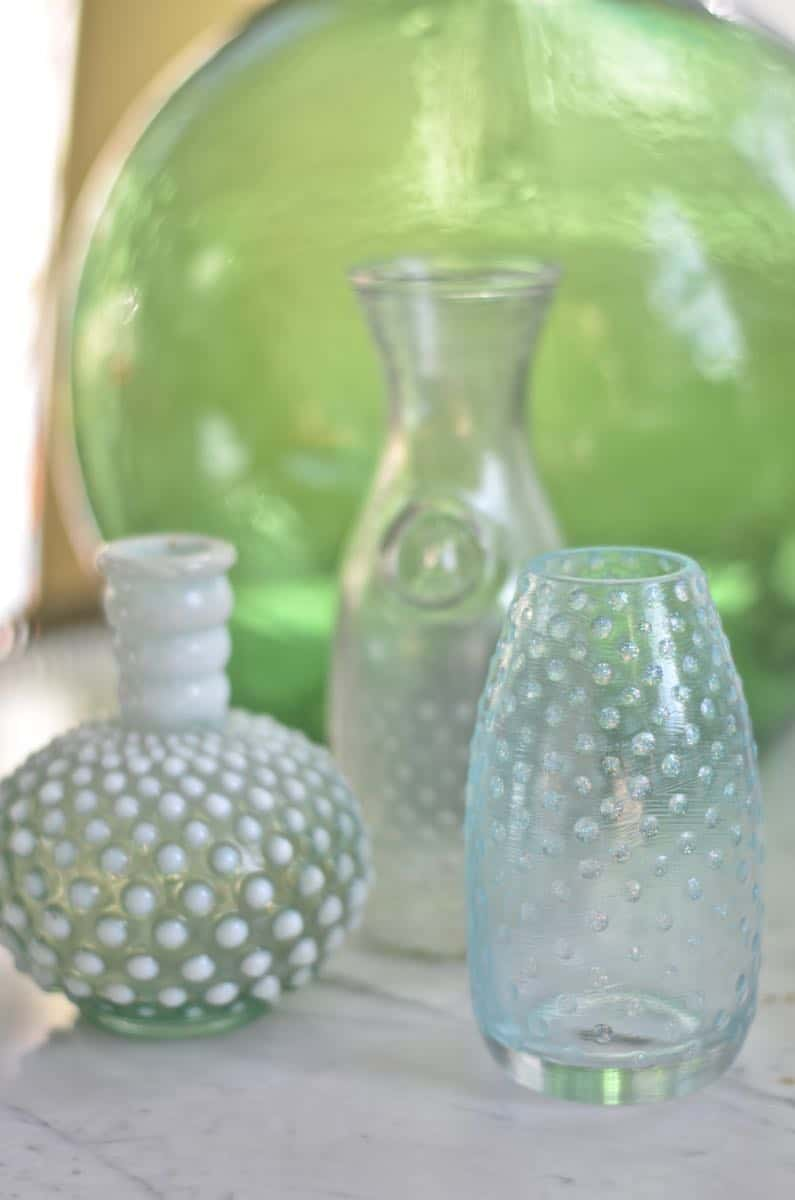 DIY hobnail glass out of plain thrift store glassware.