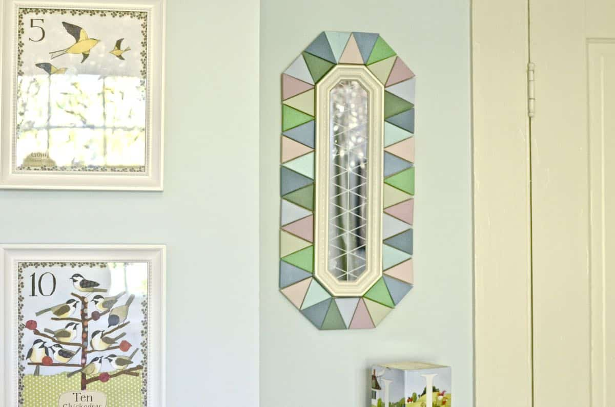 makeover of flea market mirror received from a fellow blogger for swap it like its hot.