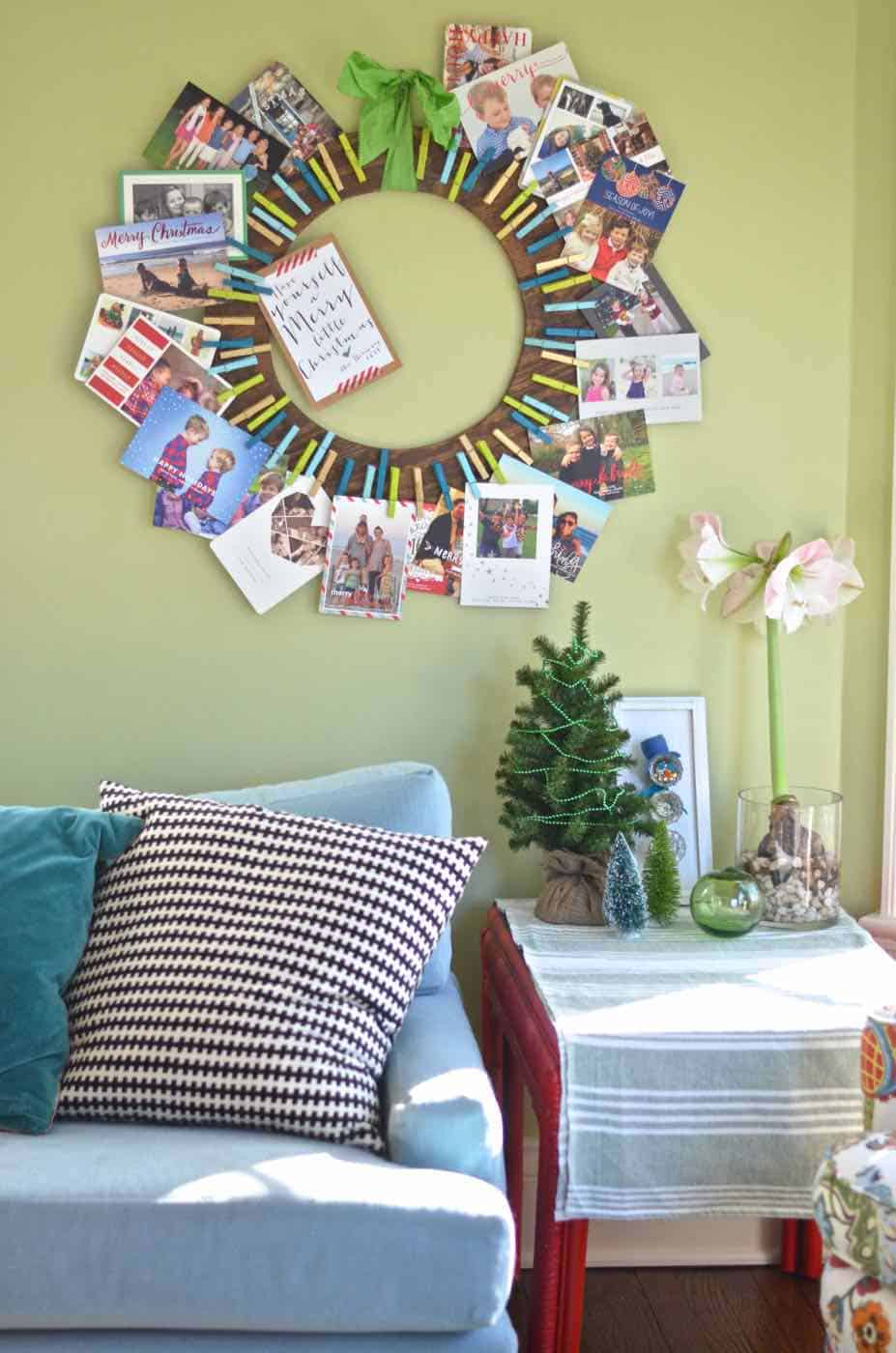 Plywood and clothes pins christmas card holder