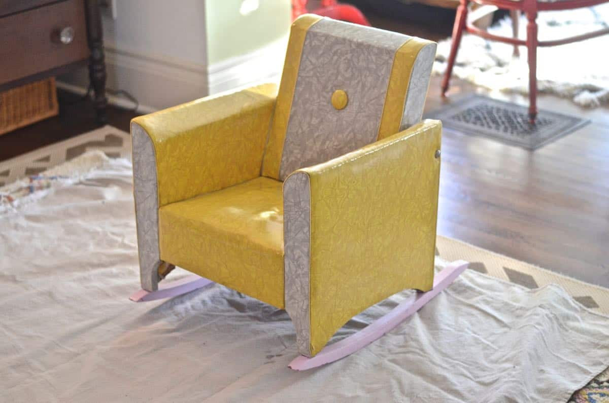 how to reupholster a dated kids rocking chair