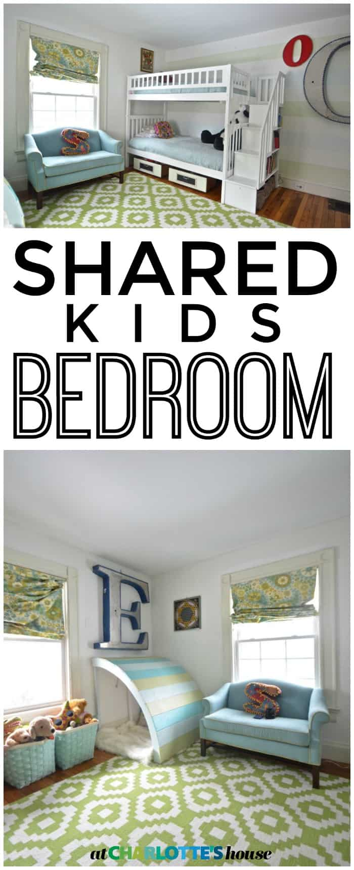Boy and girl shared bedroom design.