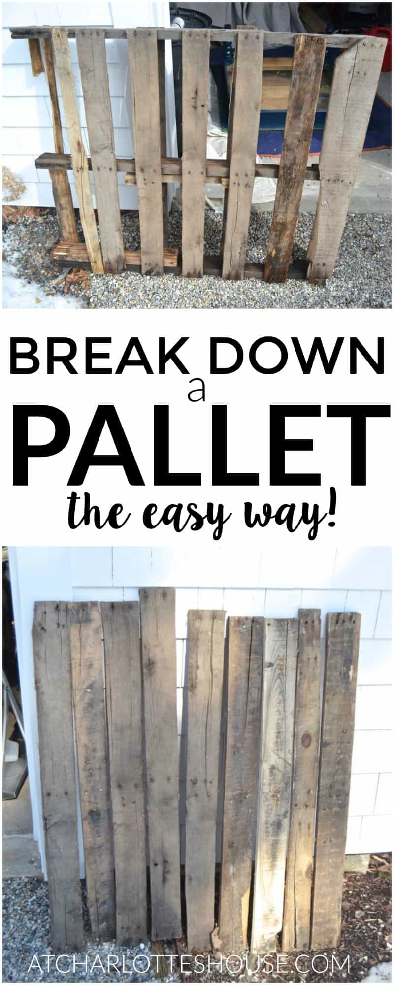 Pallet wood is so great to work with but a pain to take apart... this actual looks super easy!