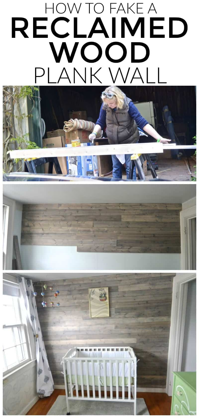 Fake a fun weathered reclaimed wood plank wall without dealing with finding clean and suitable old wood.