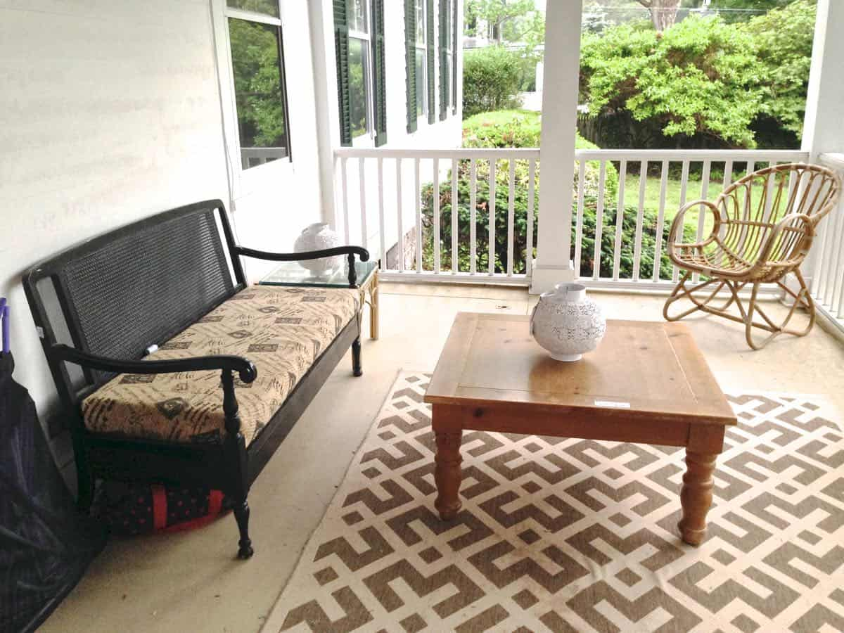 porch makeover on a budget using DIY and thrifted finds