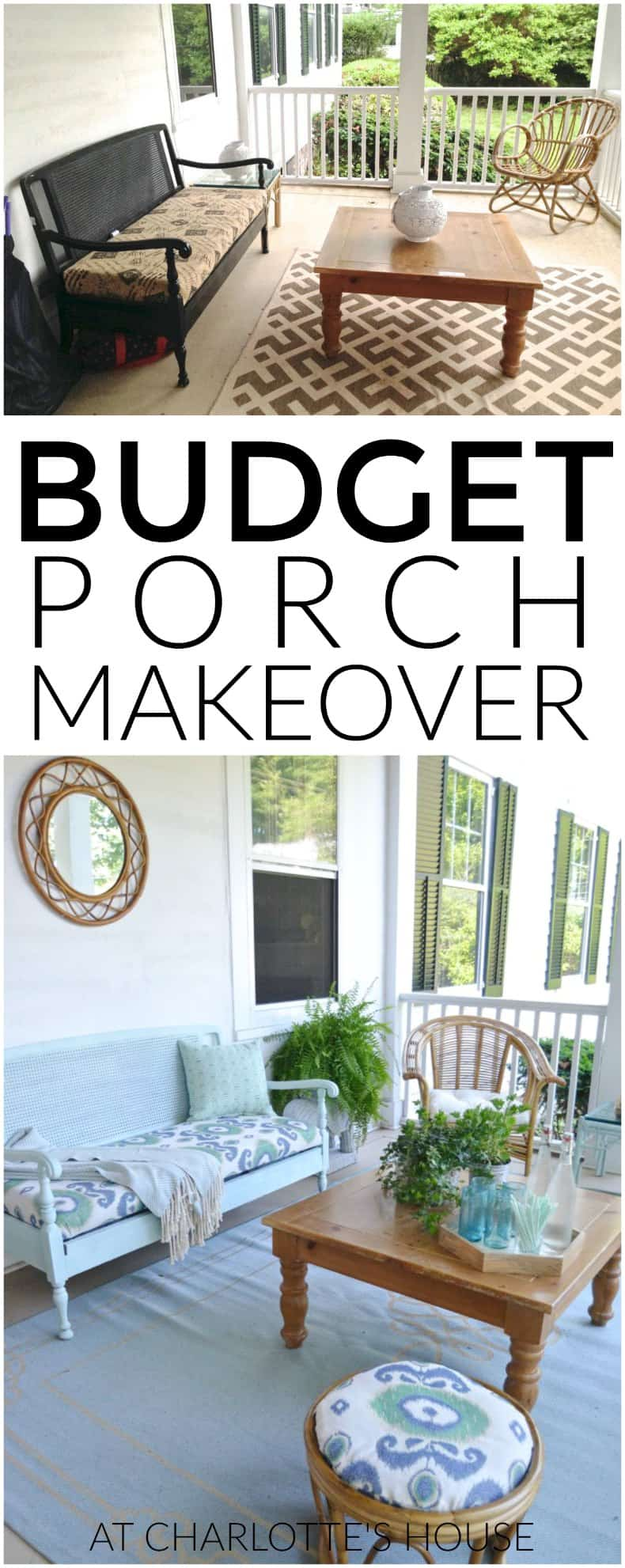 This porch got an entire makeover thanks to some elbow grease and some simple thrift store finds!