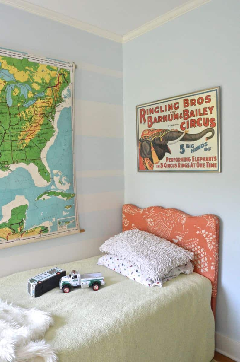 Vintage and flea market treasures for a little boys room.