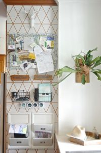 Organize your family with this creative use of one small kitchen wall.