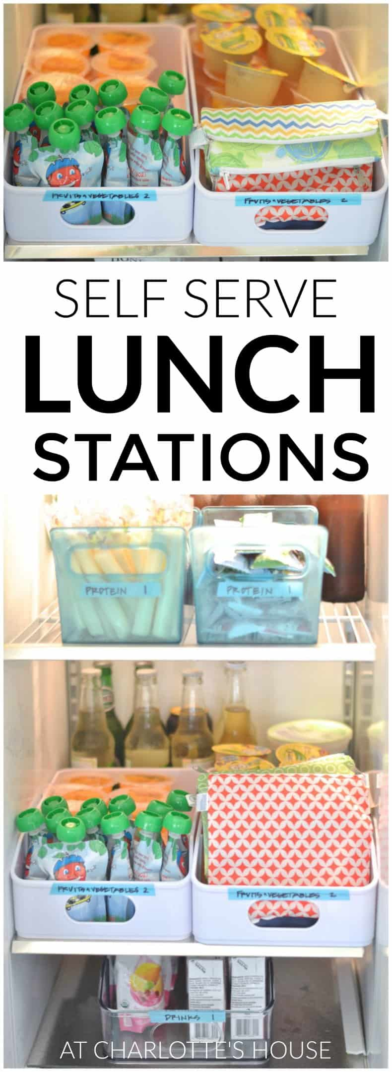 Your kids can pack their own lunch with this simple self serve lunch station!