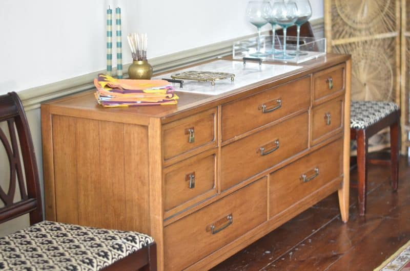 Adding a marble topper to this salvaged wooden buffet.