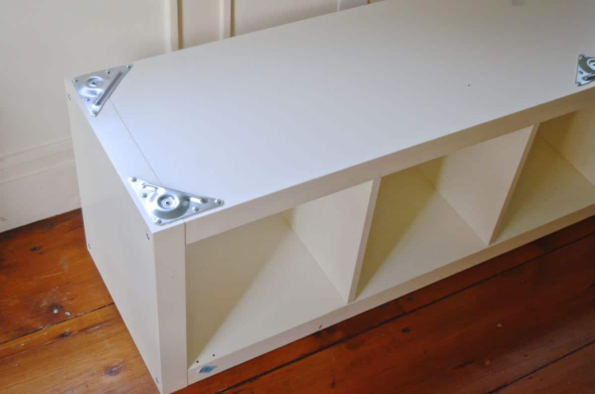 Turn this standard ikea shelf into a comfortable upholstered bench seat.