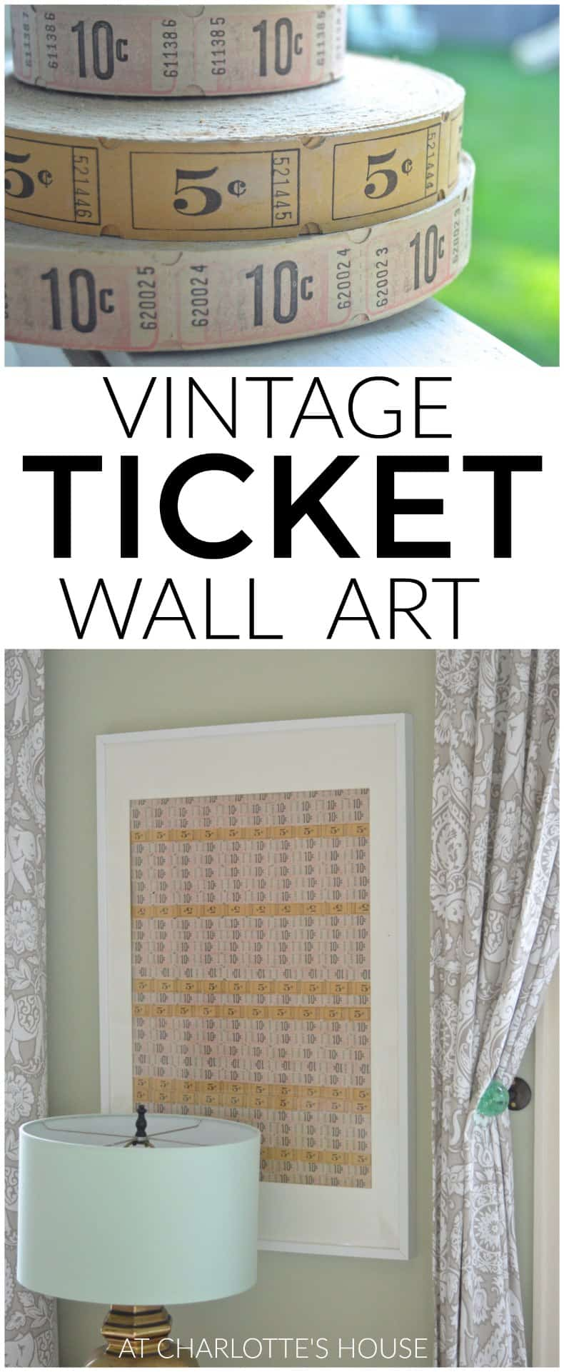 Using vintage tickets to make simple wall art.