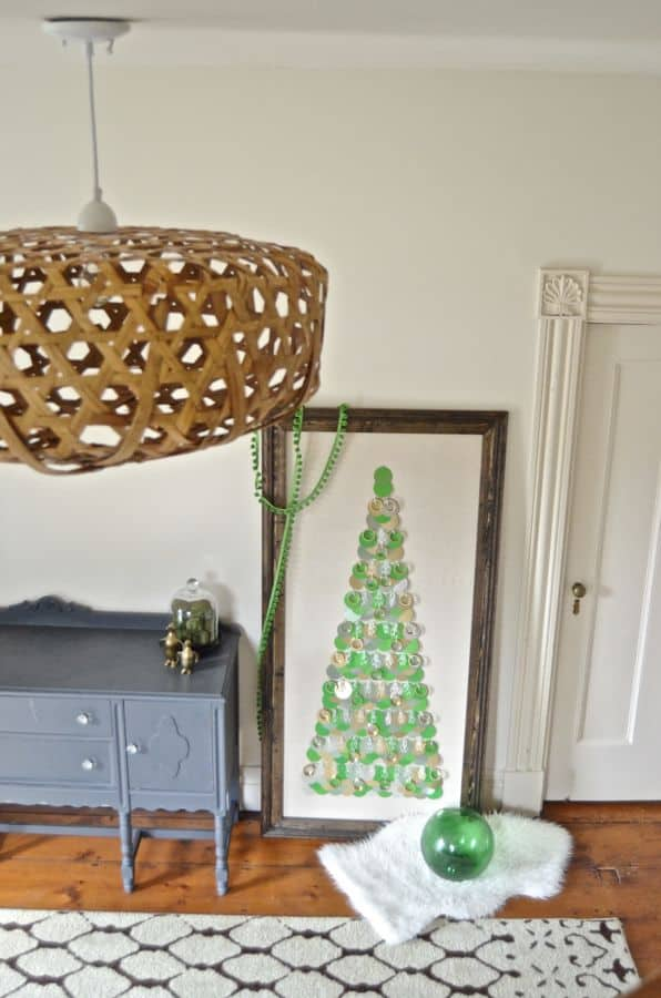 Large framed Christmas tree using easy inexpensive hardware store items.