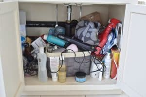 clutter in bathroom vanity