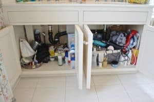 clutter under bathroom sink