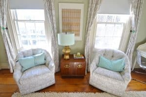 pair of barrel chairs