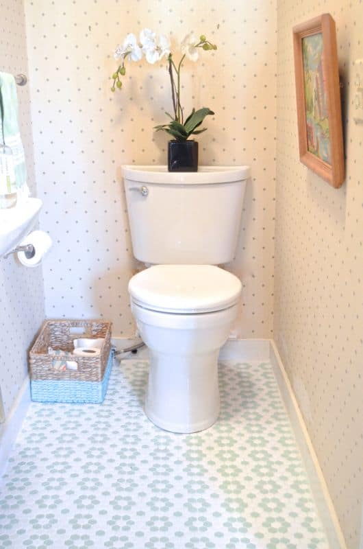 powder room with new toilet