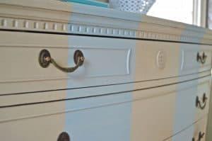 Close up of dresser stripes