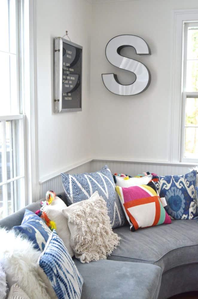 Corner detail of family room sectional