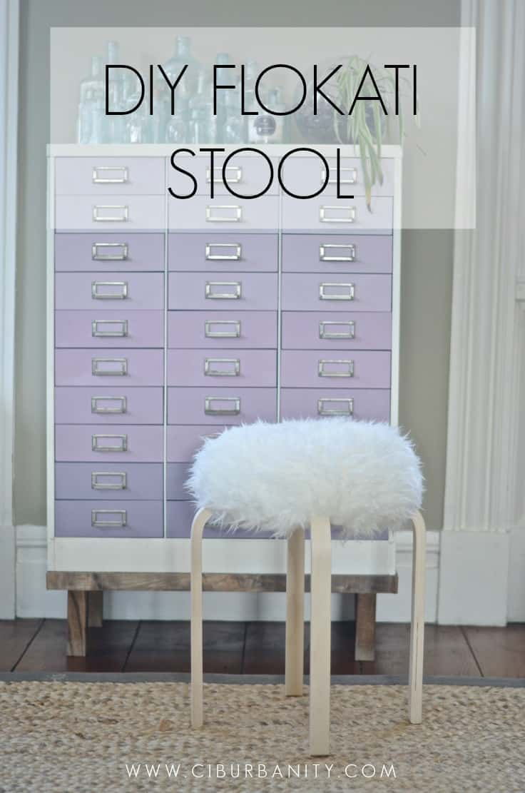 DIY flokati stool