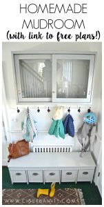 Homemade mudroom with free plans