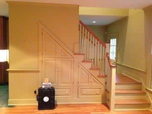 Staircase shelves walk through