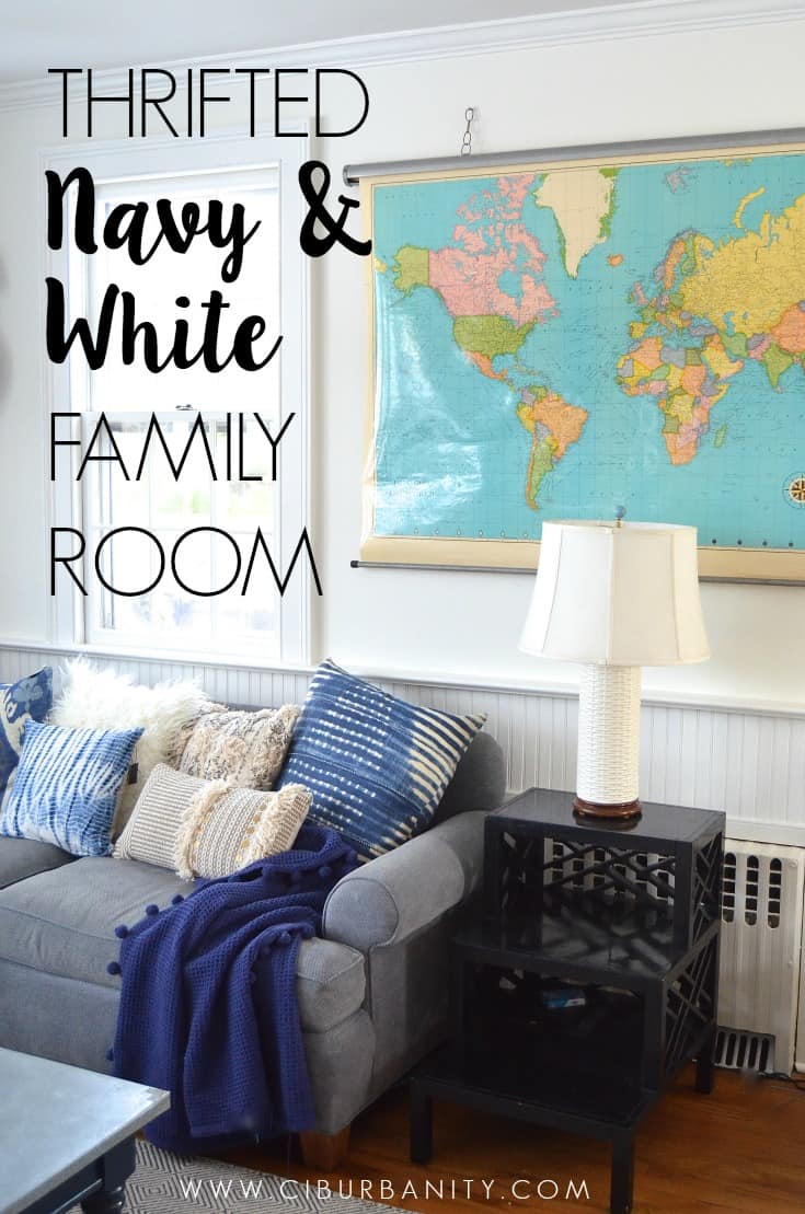 Thrifted Navy and White family room
