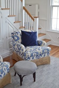 armchair with ikat and coffee sack