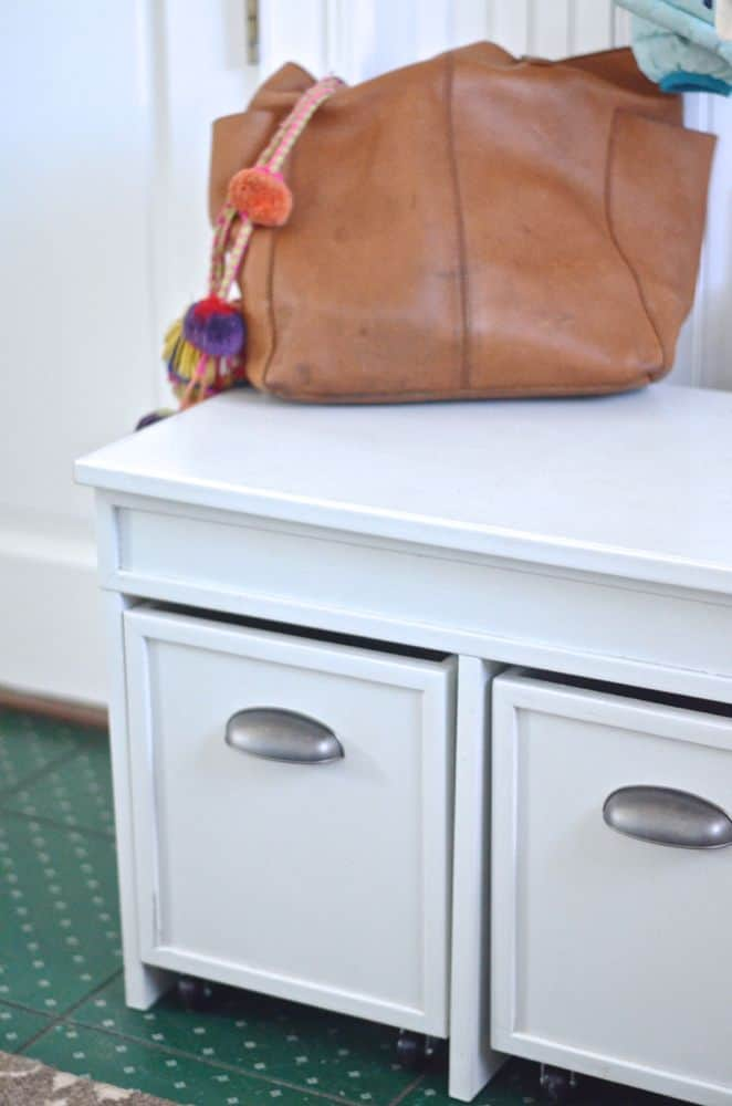 detail of mudroom bench